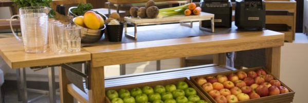 Lockhart's latest Trendset showcasing a healthy juice bar set-up on Craster's FLOW Trolley