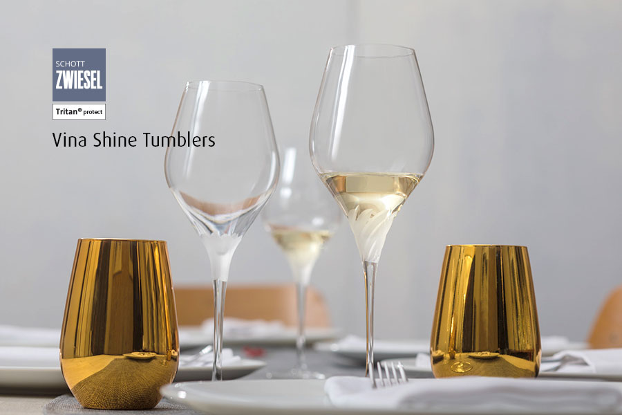 Professional bar glassware available from houseware.ie co. meath vina shine gold