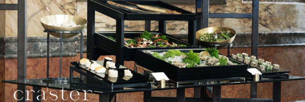 craster flow range displaying black lacquer and tilt collections for an elegant evening buffet display available from houseware.ie